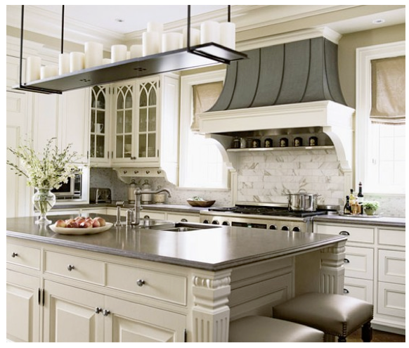 Island; Hood; Candle Chandelier; Glass-front Cabinets