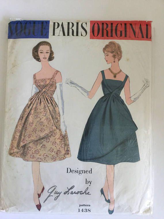 1950s Vogue Paris Original, Guy Laroche Cocktail Dress, Sewing ...
