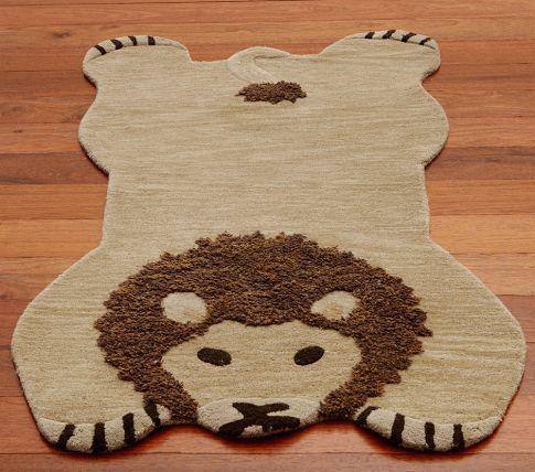 Pottery Barn Kids Lion Shaped Rug Jungle Nursery Wool 3x5