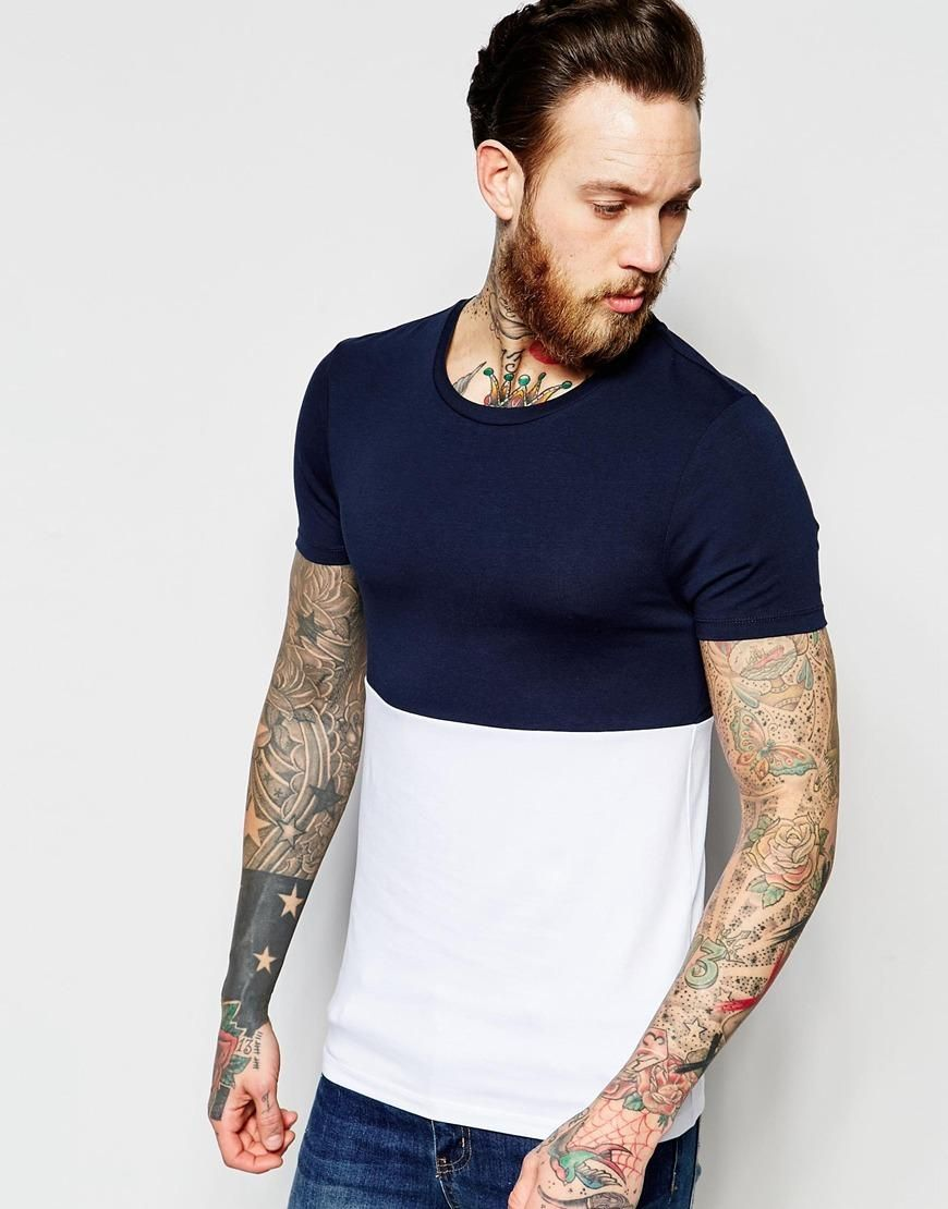ASOS | ASOS Extreme Muscle T-Shirt With Cut And Sew Panel at ASOS