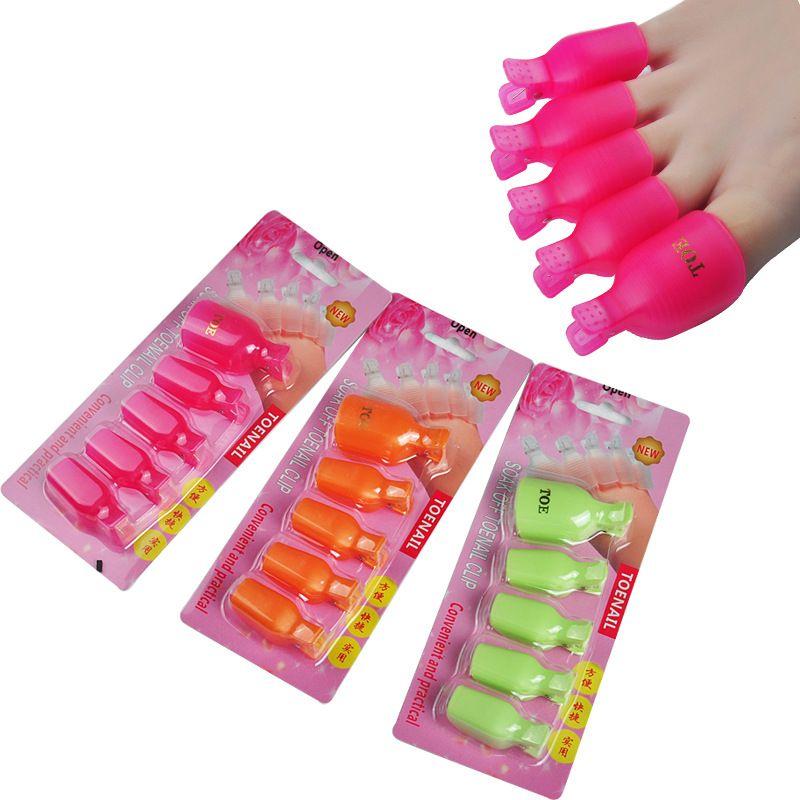 free and fast shipping 5Pcs Plastic Foot Toe Nail Art Soak Off Cap ...