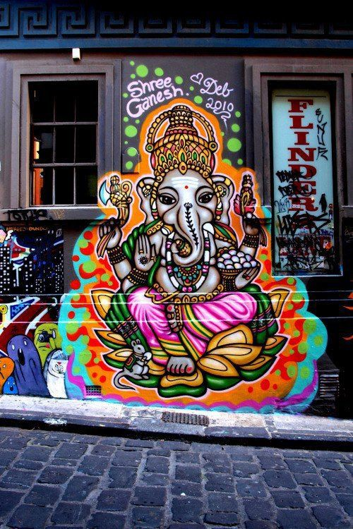 Lord ganesha graffiti india art pinterest ganesha for 3d mural art in india