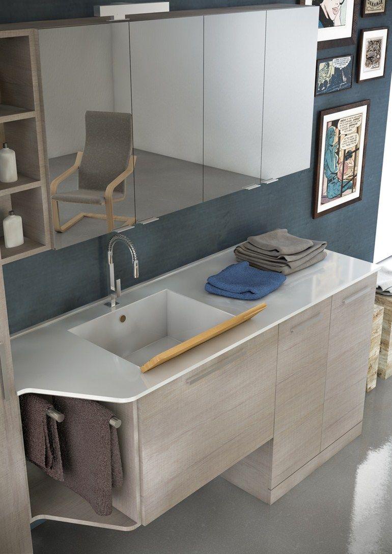 mobile lavabo per lavatrice in legno in stile moderno con armadio ... - Arredo Bagno Con Lavatrice Incasso