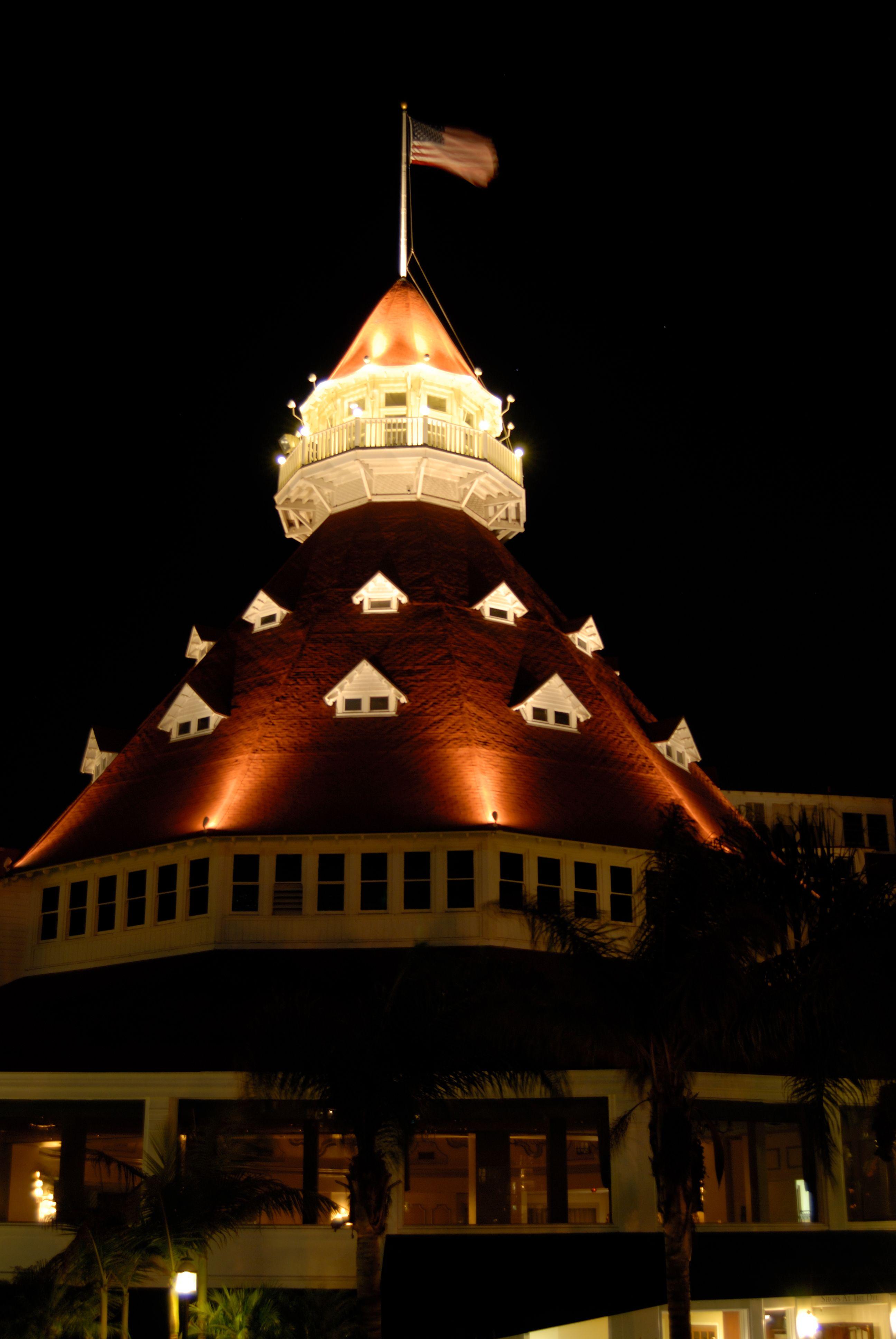 Hotel Del Coronado, Beautiful At Night, Featuring The Flag