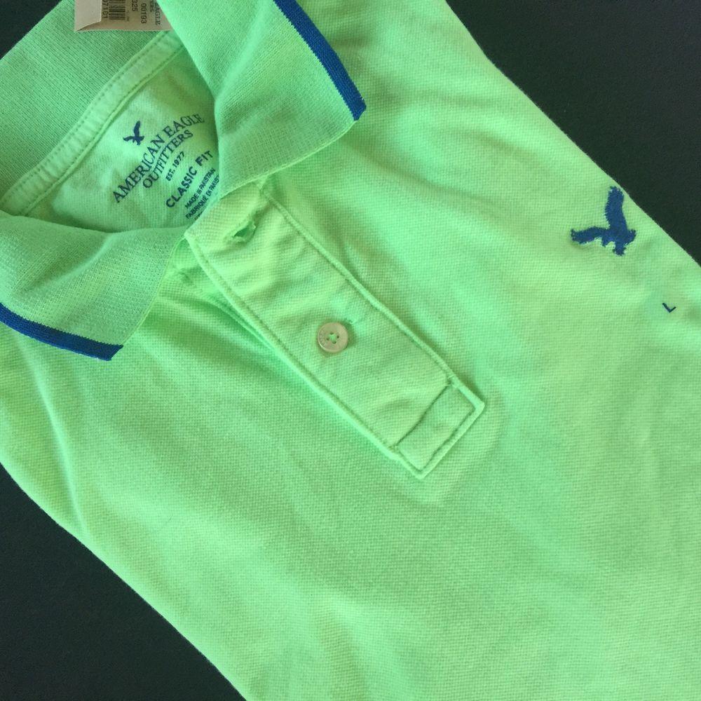fea60606 American Eagle Mens Cotton Green Blue Tipped Golf Polo Shirt Classic Fit L  NEW #AmericanEagle #Polo