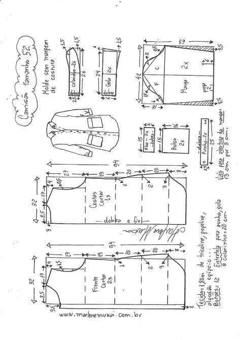 Camisão chemise | blusones | Costura, Coser vestido y Patrones de ...