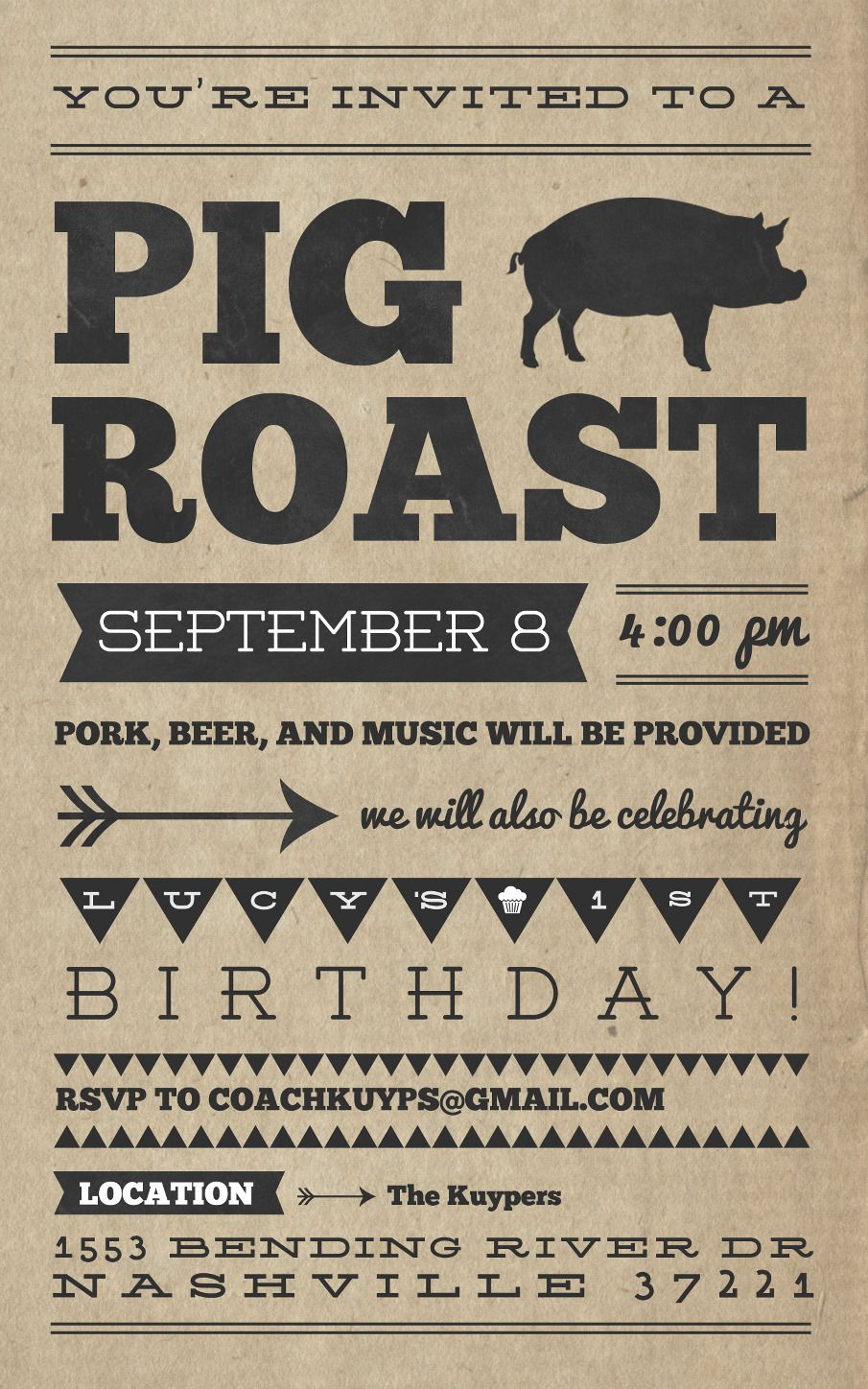 letterpress look. replace pig with guy/girl silhouette. text can ...