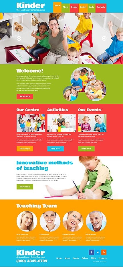Template 48443 Kindergaten Children Responsive Website