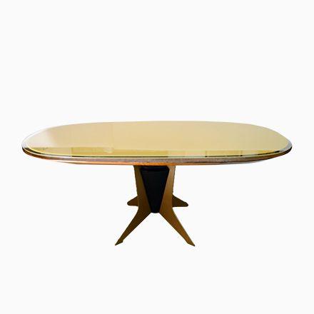 Ovaler Italienischer Esstisch aus Holz, Metall \ Lackiertem Glas - esszimmer 1950
