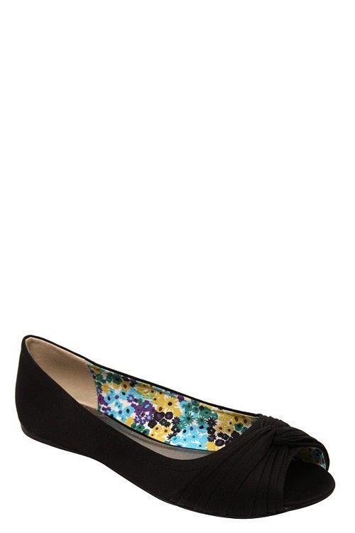 Serina Black Peep Toe Flats   Peep toe