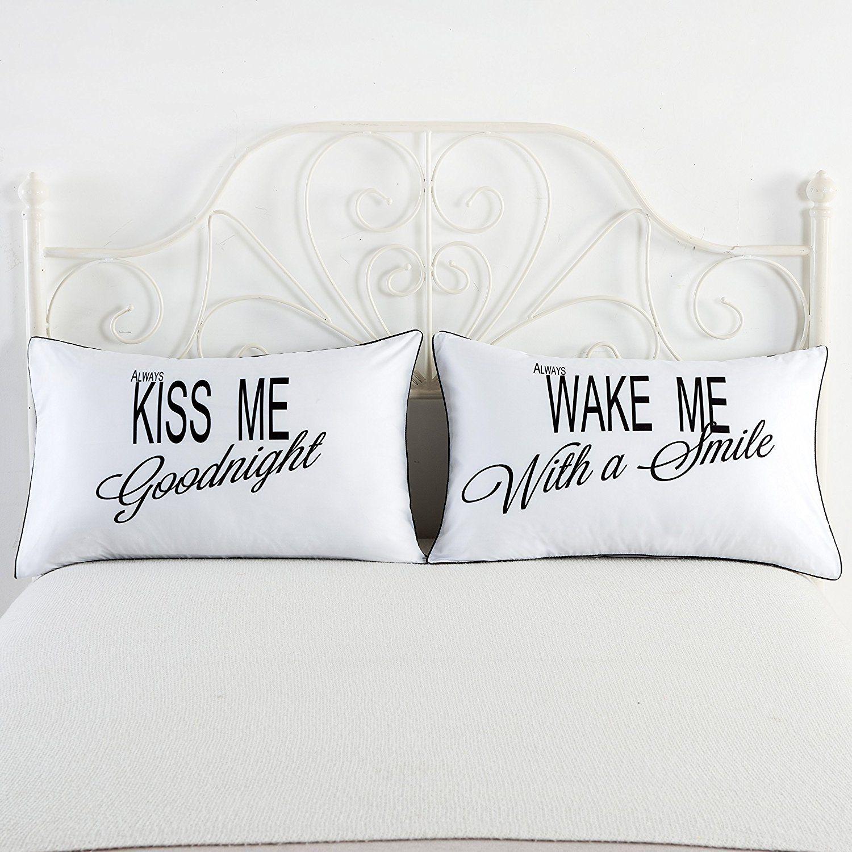Amazon.com: Standard/Queen Couples Pillowcases,Always Kiss Me ...