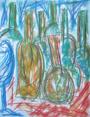 Wine bottles #art #abstract #helsinki #finland #pastels #drawing #wine #painting #summer