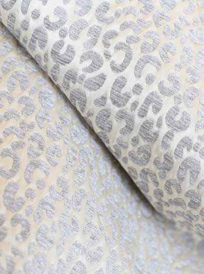 Snow Leopard Fabric In Silver And Cream Upholstery Grade