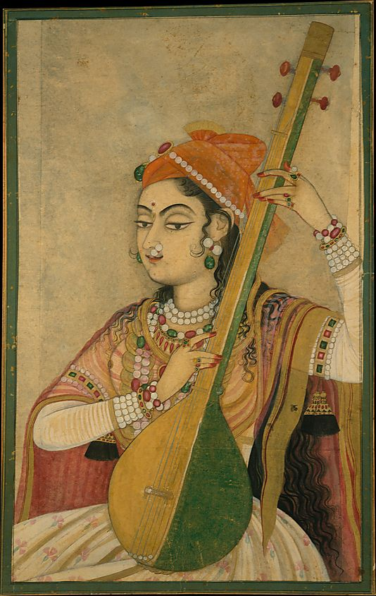 A Lady Playing the Tanpura Date: ca. 1735 Culture: India (Rajasthan, Kishangarh) Medium: Ink, opaque and transparent watercolor, and gold on paper Dimensions: 18 1/2 x 13 1/4 in. (47 x 33.7 cm) Classification: Paintings Credit Line: Fletcher Fund, 1996 Accession Number: 1996.100.1
