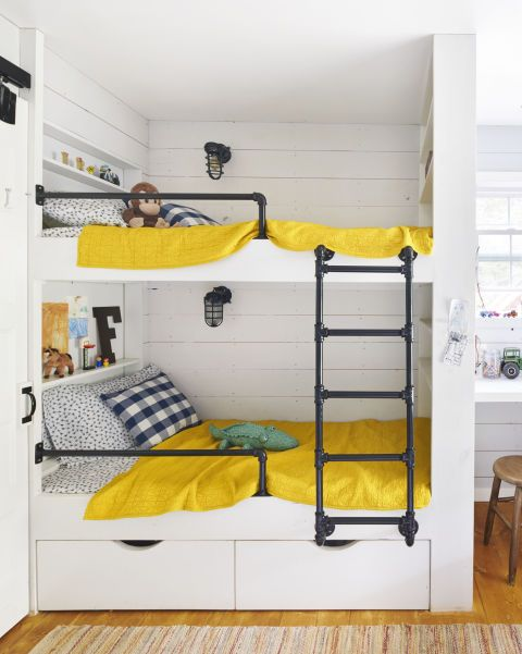 The Beds In This Kids Room Include Shelving, Storage And Secret Hiding  Nooks For Treasures. The Railing And Ladder Are Made Of Inexpensive Gas  Pipe.