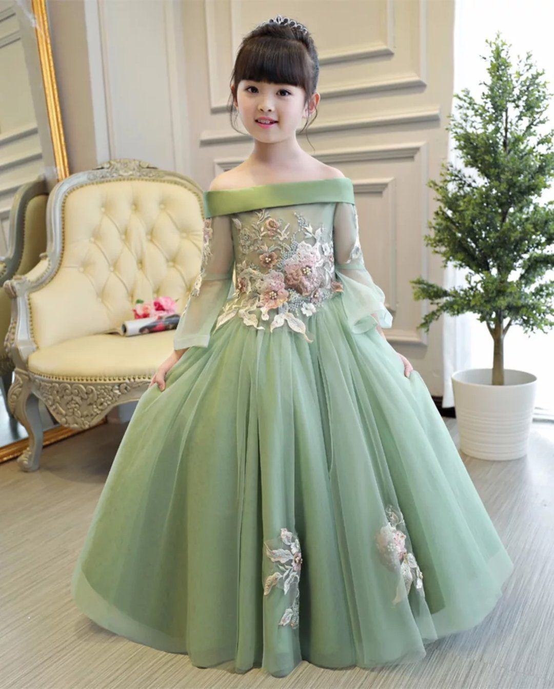 f89fdc961 Princes Dresses Girls Embroidered Flowers Dress in 2019