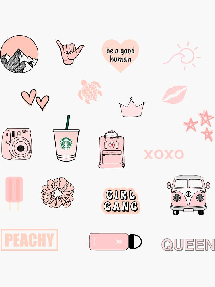 Peach Pink Sticker Pack Sticker By Elisebarker Redbubble Stickers Packs Aesthetic Stickers Hydroflask Stickers