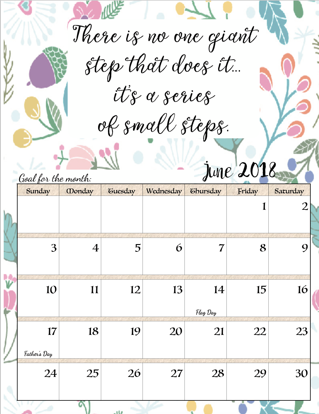 free printable 2018 monthly motivational calendars space for setting goals different motivational quote each month holidays marked links to more free