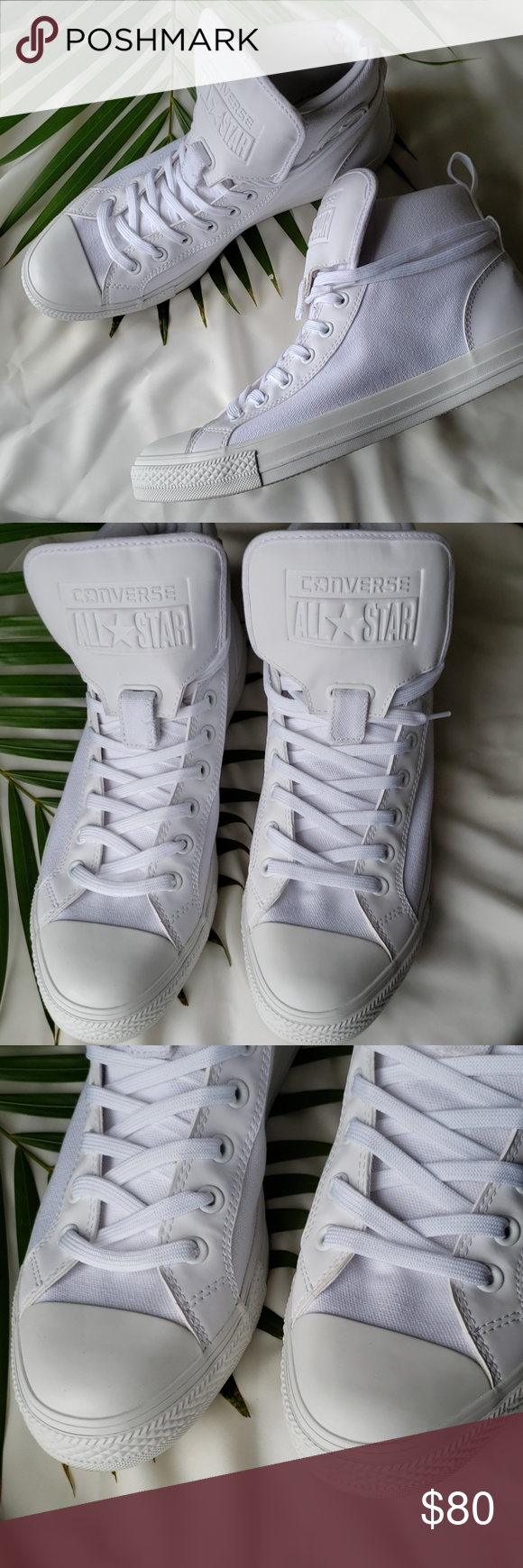 Unisex Converse Chuck taylor All star - white New has a small mark on the side of the left shoe not noticeable thought - No Box  Converse unisex chuck taylor all star  Men size 11  Women size 13 Converse Shoes Sneakers #whiteallstars