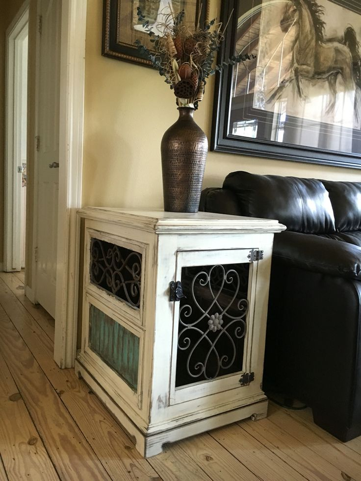 Custom dog kennel end table night stand wood and iron