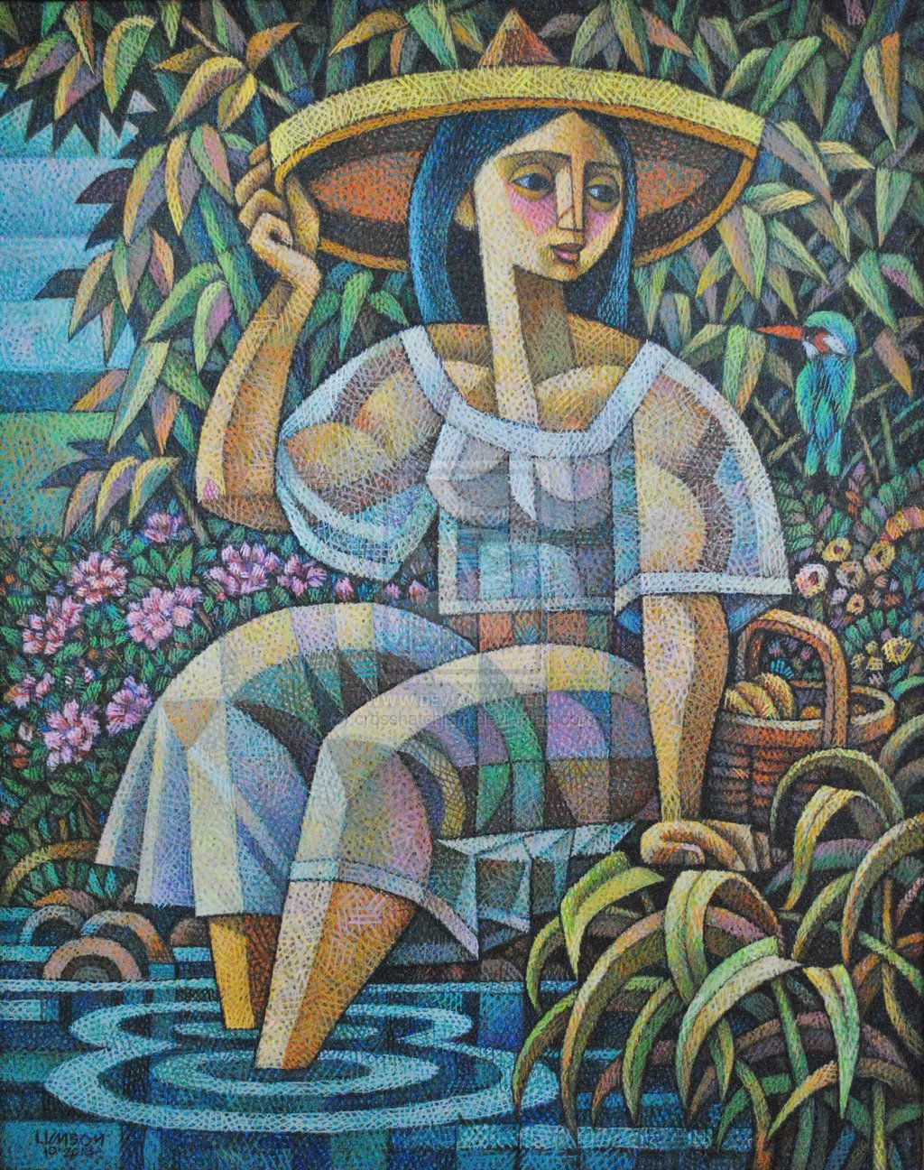 The Lady And The Kingfisher By Crosshatchism On Deviantart Philippine Art Filipino Art Naive Art
