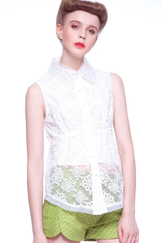 White Sleeveless Embroidery Organza Top With Polka Dot Shorts