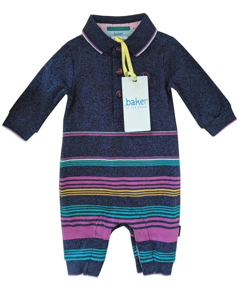 bde13866fad1af Ted Baker Baby Boy Polo Romper Sleepsuit Blue Purple Designer Newborn Gift