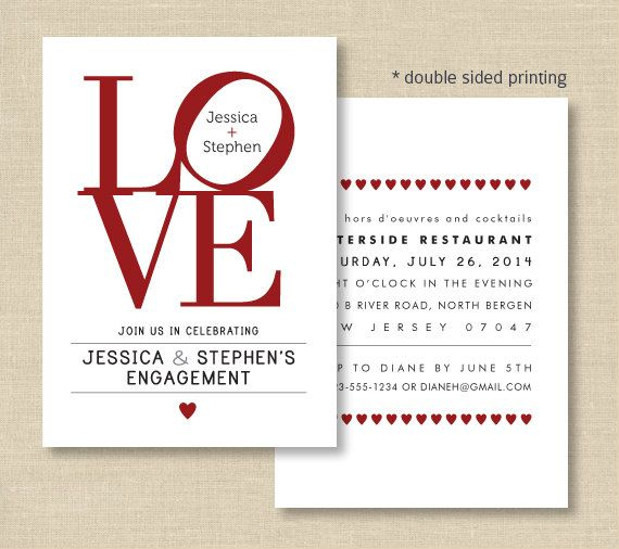 Love Invitations Love Philly Double Sided Invite For Engagement