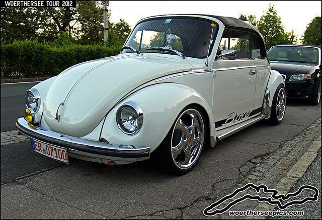 White VW Beetle 1303 cabriolet, via Flickr.