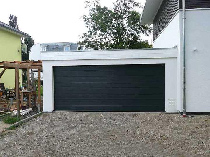 Garagen Bauen Dekoration : Masse doppelgarage mit flachdachgestaltung und garagentore holz