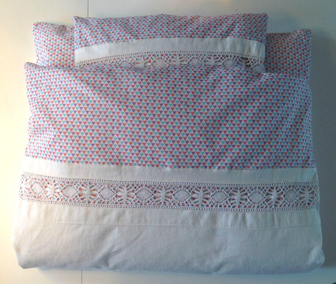 Babysengetøj lavet af gammelt sengelinnede og stof fra Stof2000