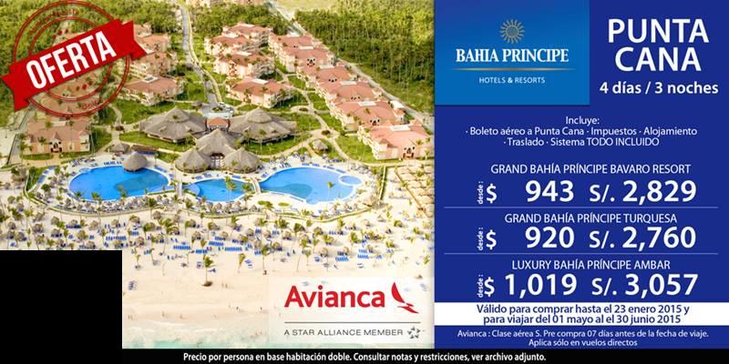 Pta Cana con Avianca en los hoteles Bahia Principe desde $920!! escribenos a gerencia@alereperutravel.com