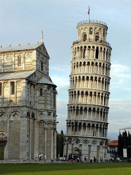 Campanile of  the Campo dei Miracoli but most often referred to as the Leaning Tower of Pisa. Construction started in 1173 but construction of the tower was interrupted so often that it was not completed for 136 years. Today, the tower leans about 14 feet from center