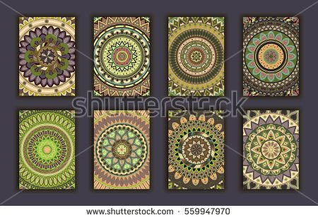 Collection retro cards Ethnic backgrounds Card of invitation - best of invitation card vector art