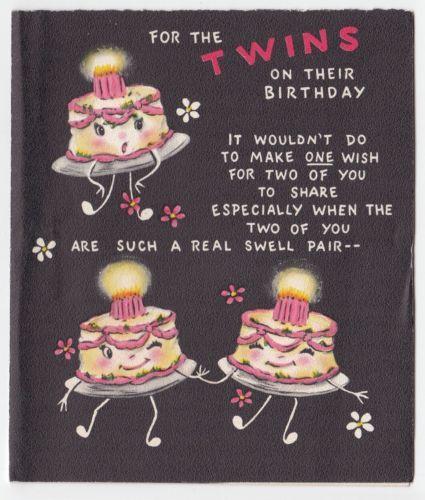 Vintage Greeting Card Happy Birthday Twins Cute Anthropomorphic Cake Hallmark Vintage Birthday Cards Birthday Greeting Cards Vintage Birthday