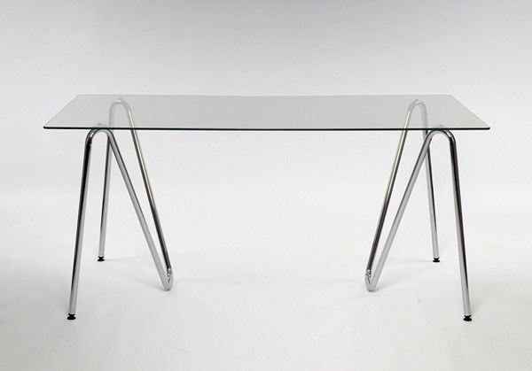 Glass Simple Table With Bent Tubular Steel Legs.jpeg (600×419) | Tables |  Pinterest | Tubular Steel, Trestle Tables And Steel