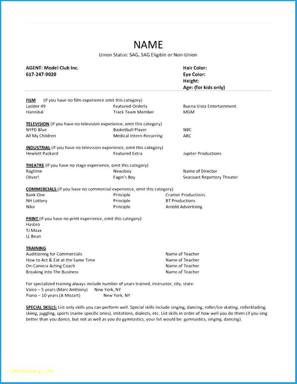 Acting Resume With No Experience Awesome Theatrical Resume Template Resume Theatrical Resume Template