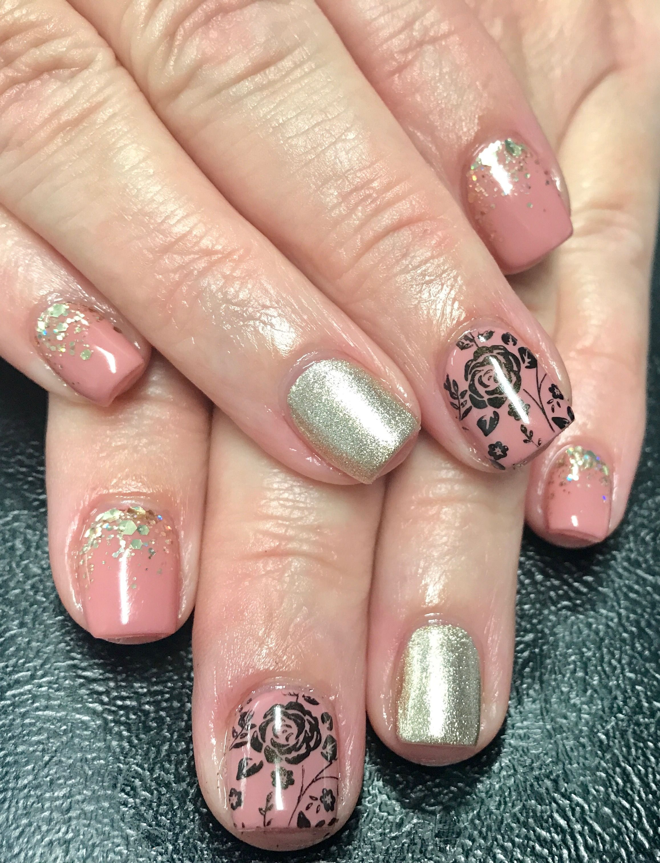 Nude And Gold Acrylic Nails Black Rose Nail Art Gold Glitter
