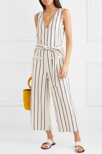 98f5f1a8 Madewell | Striped cotton and linen-blend jumpsuit | NET-A-PORTER.COM