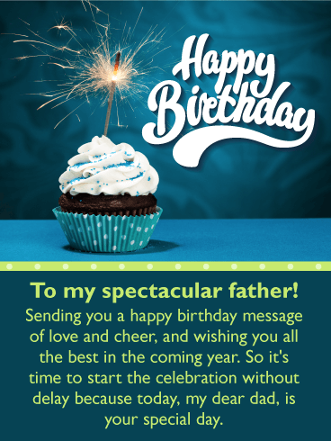 Sparkling Cupcake Happy Birthday Card For Father Send A Little