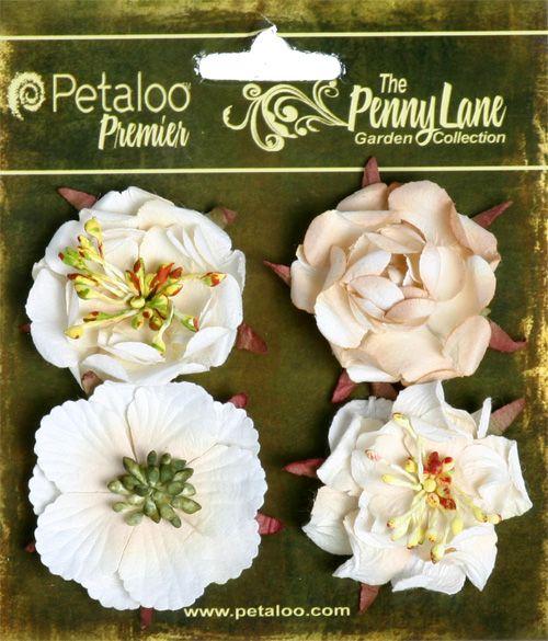 Petaloo - Penny Lane Collection - Floral Embellishments - Ruffled Roses - Vanilla at Scrapbook.com $4.99