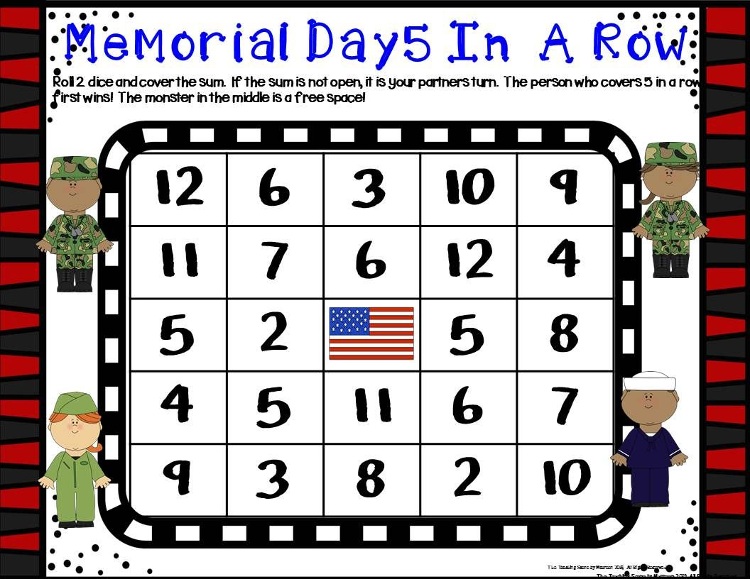 Memorial Day Math Centers