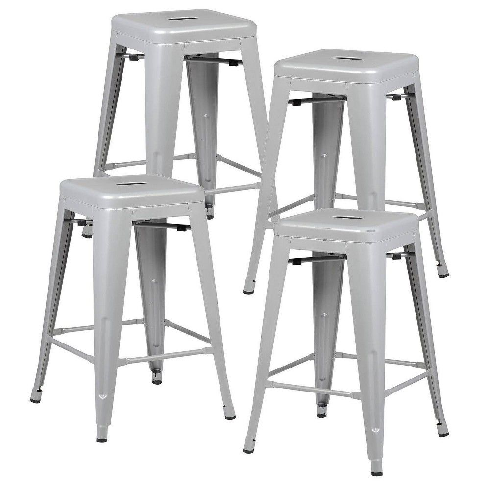 Set Of 4 24 Franco Industrial Counter Height Stool Gray Edgemod Bar Stools Counter Height Stools Industrial Bar Stools