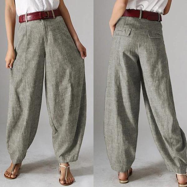 Photo of Casual Baggy Harem Pants Women's Autumn Trousers  2020 Vintage Front Zipper Pantalon Plus Size Cropped Pant Woman Palazzo