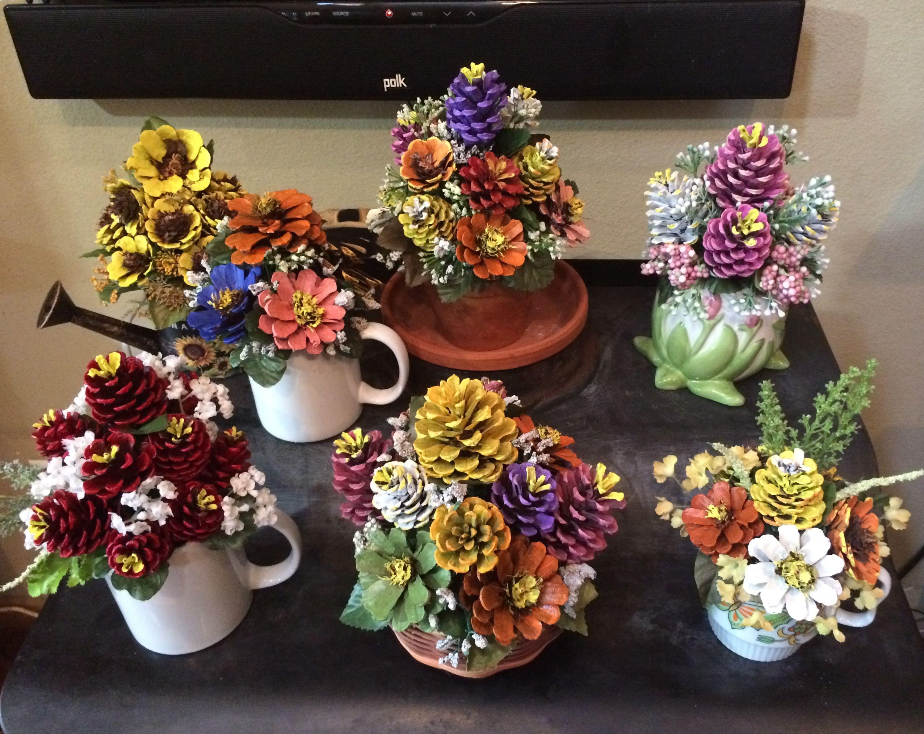 Pinecone Flower Arrangements By Cat Pine Cone Art Flower Crafts Pine Cone Crafts