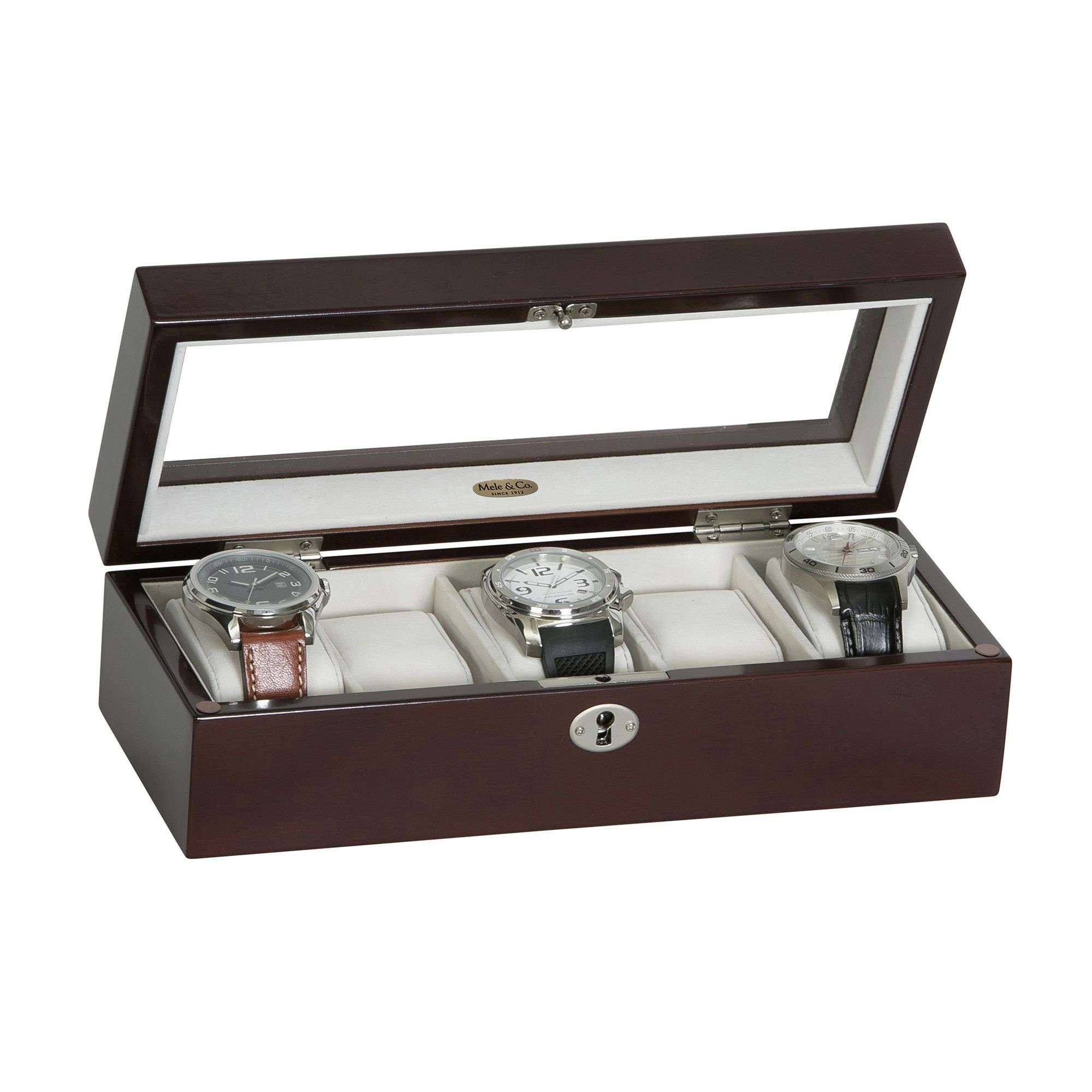 Mele & Co Macon Glass Top Wooden Watch Box in Mahogany Finish