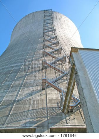 Picture Or Photo Of Ladder Scaffolding Up Cooling Tower At
