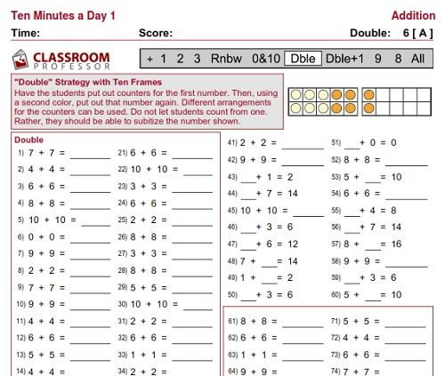 Free Math Worksheets Doubles Addition Strategy Free Math Worksheets From Classroom Professor Math Fact Practice Free Math Worksheets Ccss Math