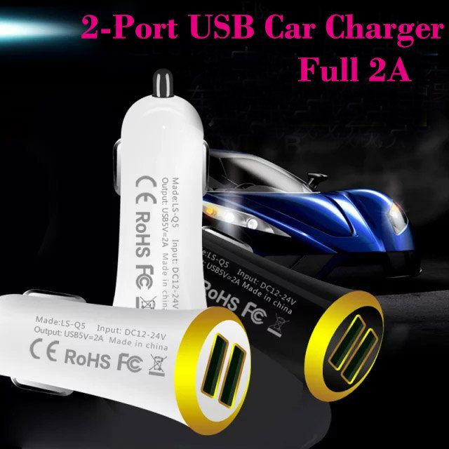 5V 2A Dual Port USB Car Charger adapter for iPhone4/4S for iPAD1/2 For the New iPad For Samsung For LG xiaomi/Huawei