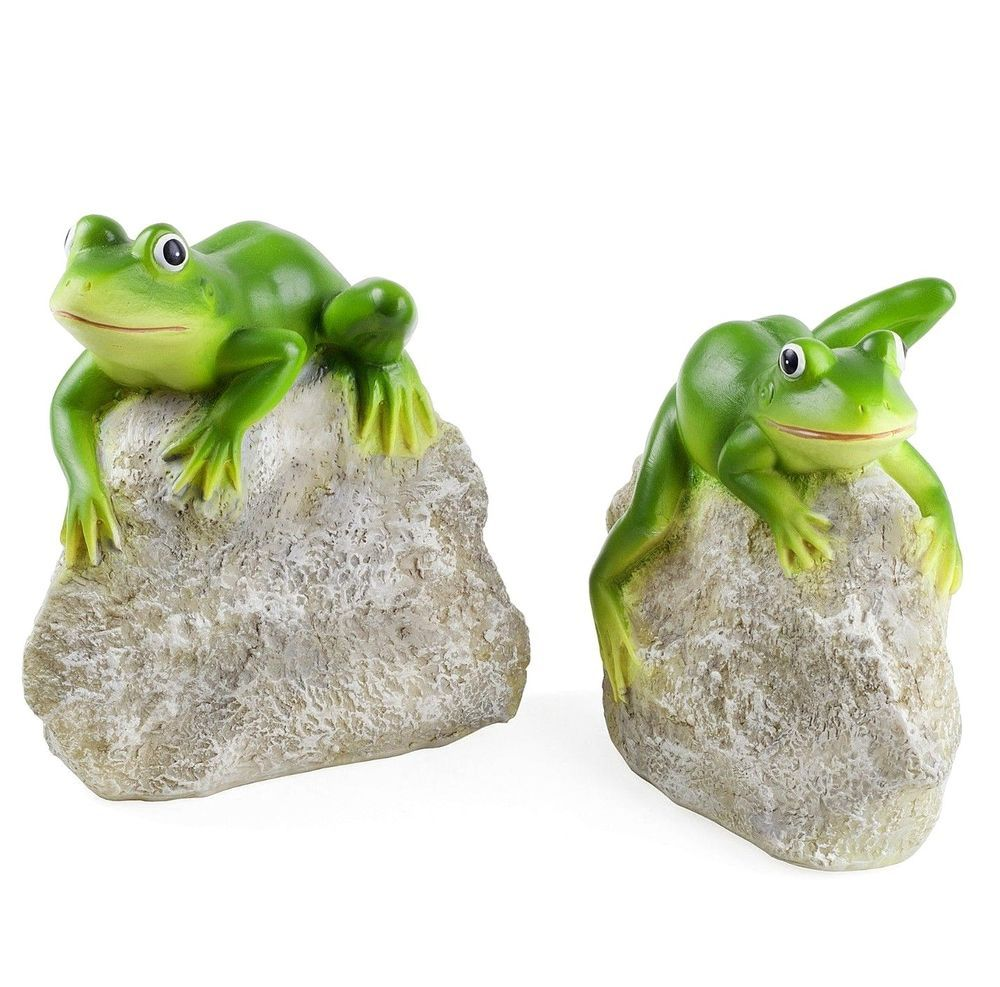 Garden Pond Frog Ornaments Animal Pair \'Leafy & Leroy\' Frogs on ...